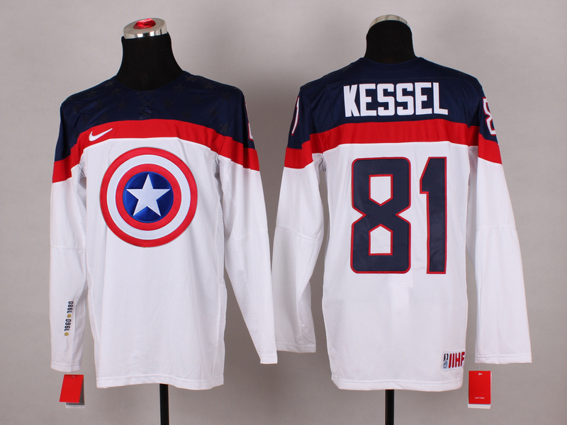 NHL 81 kessel white Captain America Fashion Jerseys