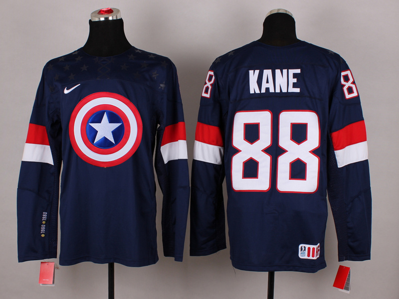 NHL 88 kane BLUE Captain America Fashion Jerseys
