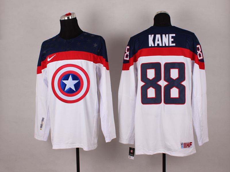 NHL 88 kane white Captain America Fashion Jerseys