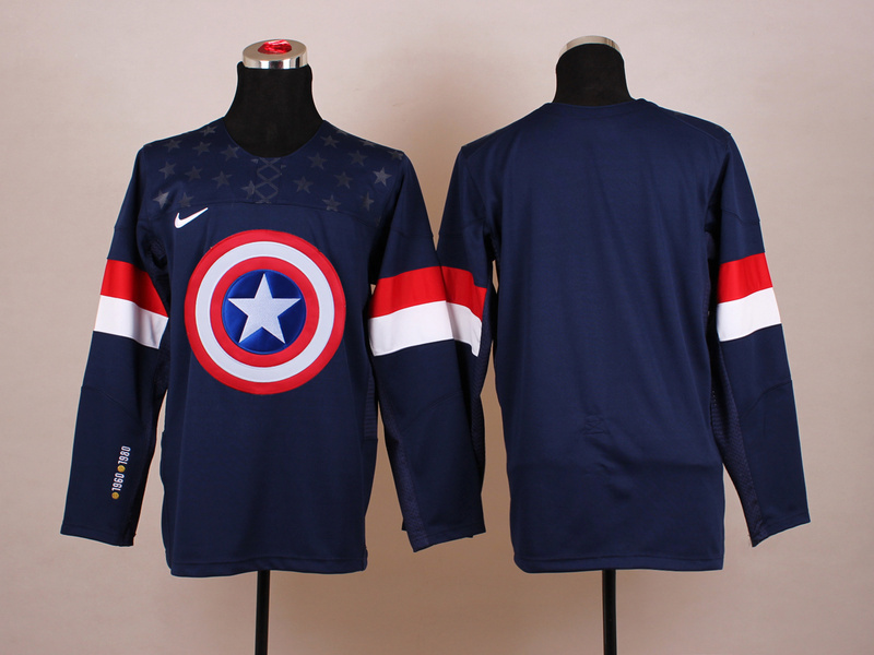 NHL blank blue Captain America Fashion Jerseys