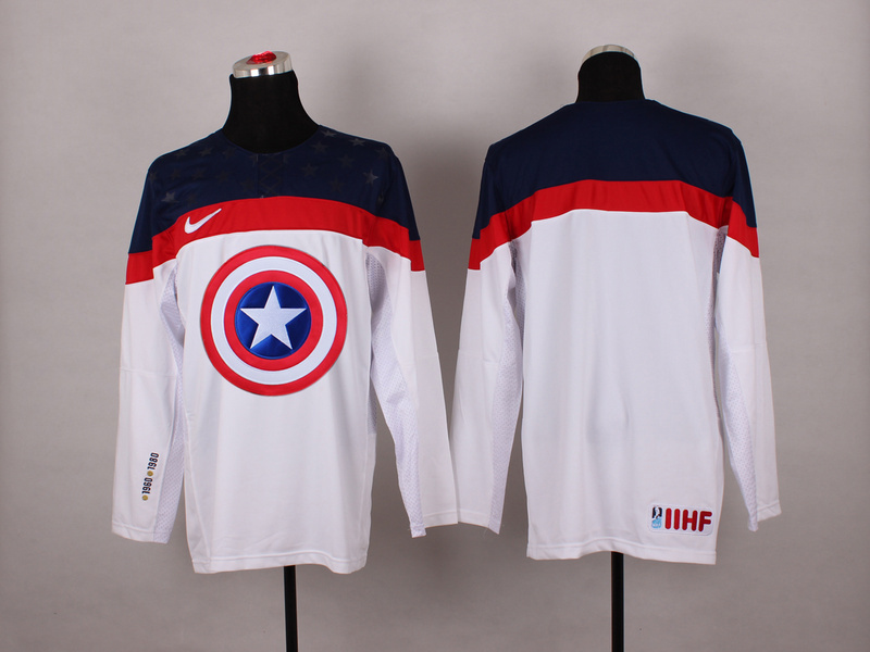 NHL blank white Captain America Fashion Jerseys