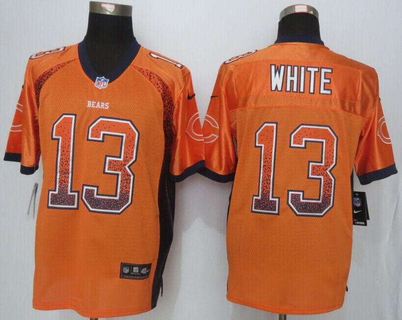Chicago Bears 13 White Drift Fashion Orange Men Nike Elite Jerseys