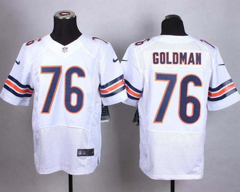 Chicago Bears 76 Goldman White Men Nike Elite Jerseys