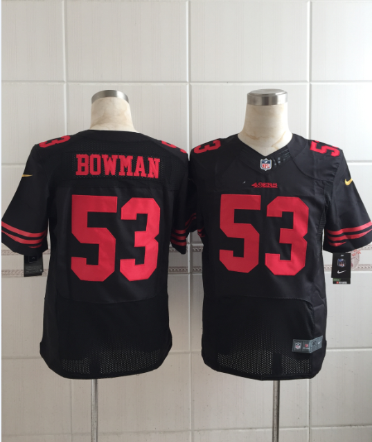 San Francisco 49ers 53 bowman black Men Nike Elite Jerseys