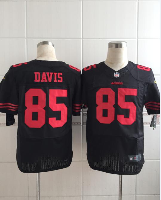 San Francisco 49ers 85 davis black Men Nike Elite Jerseys