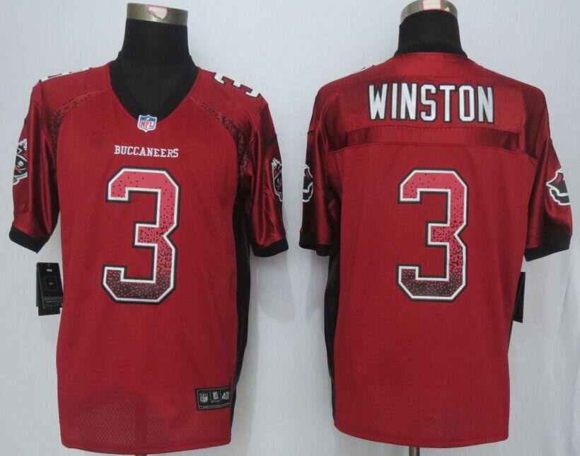 Tampa Bay Buccaneers 3 Winston Drift Fashion Red Men Nike Elite Jerseys