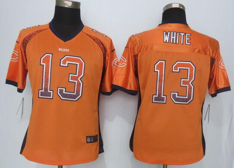 Womens Chicago Bears 13 White Drift Fashion Orange Men Nike Elite Jerseys