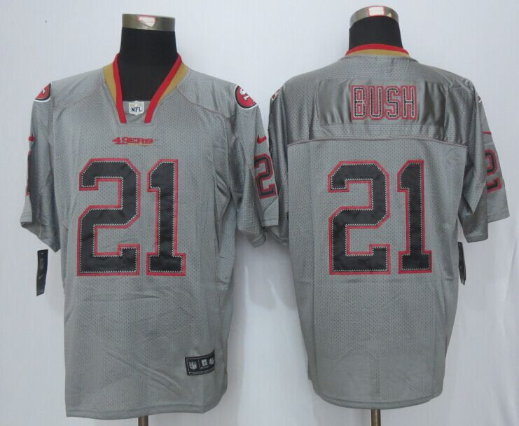 San Francisco 49ers 21 Bush Lights Out Grey New Nike Elite Jerseys