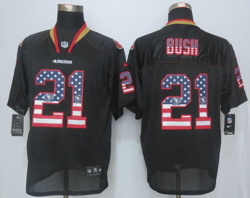 San Francisco 49ers 21 Bush USA Flag Fashion Black 2015 New Nike Elite Jerseys