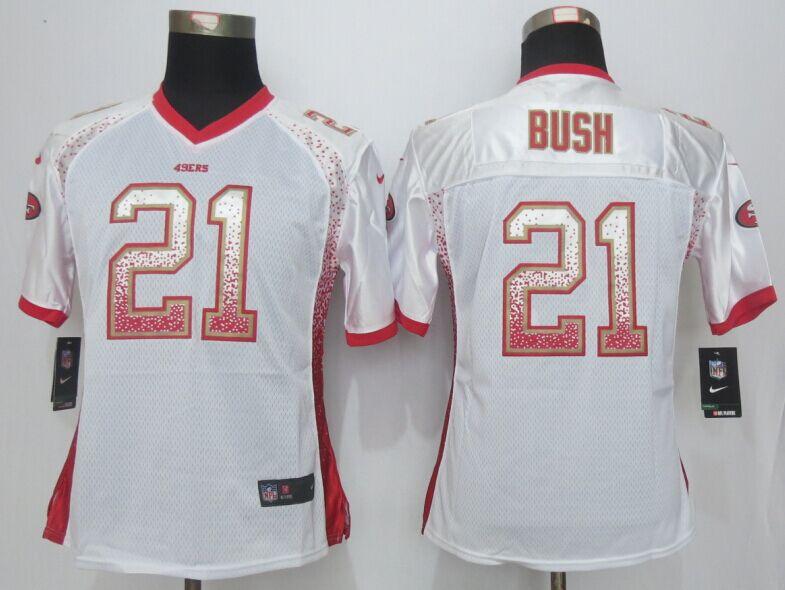 Womens San Francisco 49ers 21 Bush Drift Fashion White NEW Nike Elite Jerseys