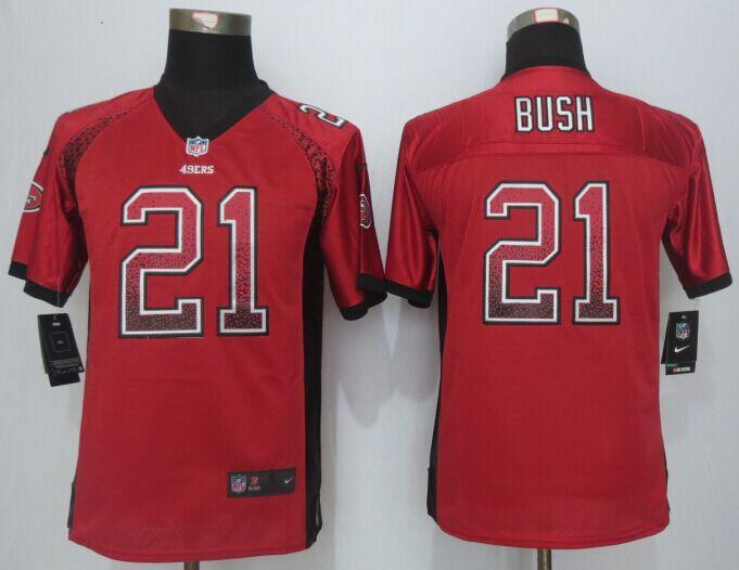 Youth San Francisco 49ers 21 Bush Drift Fashion Red New Nike Elite Jerseys