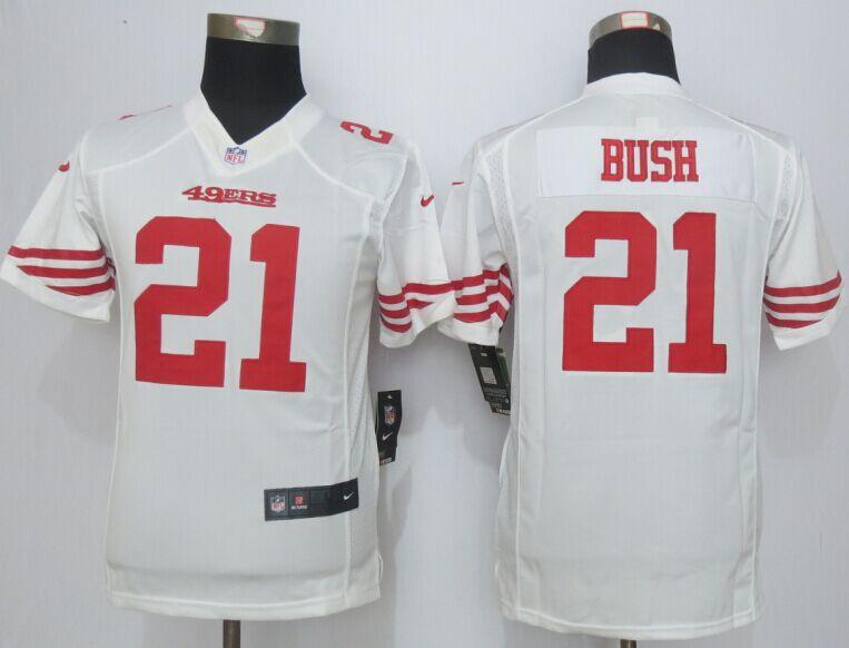 Youth San Francisco 49ers 21 Bush White New Nike Elite Jerseys