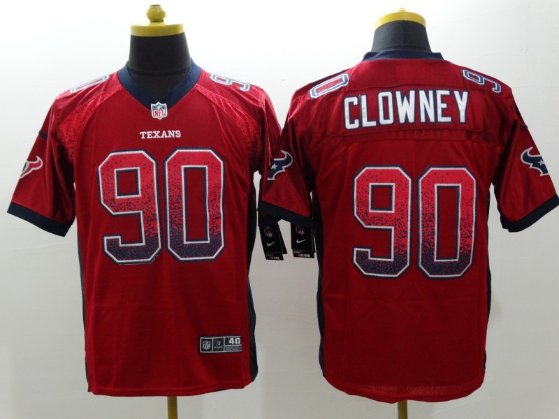 NEW Nike Huston Texans 90 Clowney Red Drift Fashion White Elite Jerseys