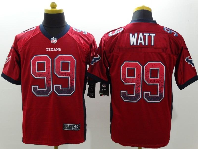 NEW Nike Huston Texans 99 Watt Red Drift Fashion White Elite Jerseys