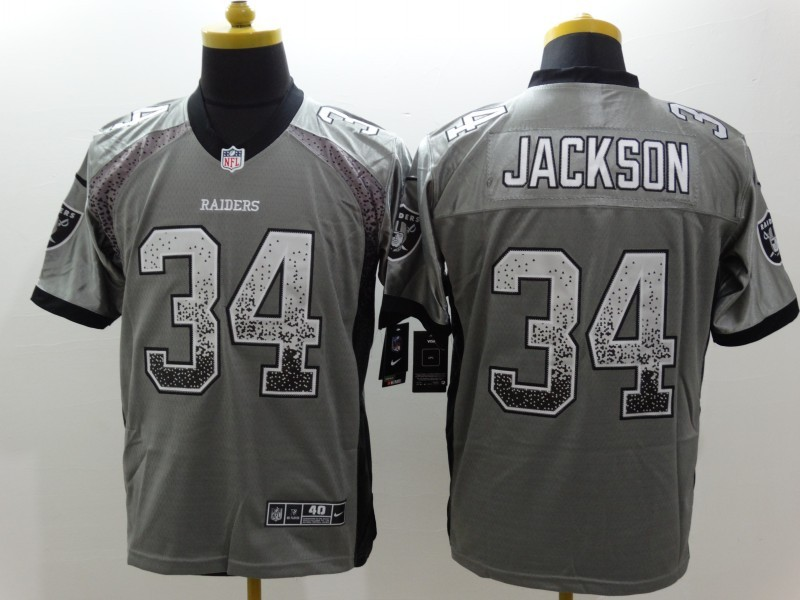 NEW Nike Oakland Raiders 34 Jackson Gray Drift Fashion White Elite Jerseys