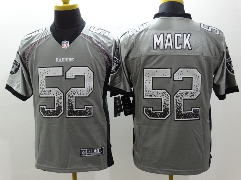 NEW Nike Oakland Raiders 52 Mack Gray Drift Fashion White Elite Jerseys