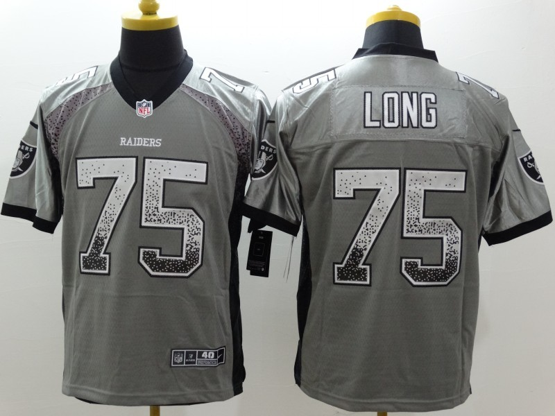 NEW Nike Oakland Raiders 75 Long Gray Drift Fashion White Elite Jerseys