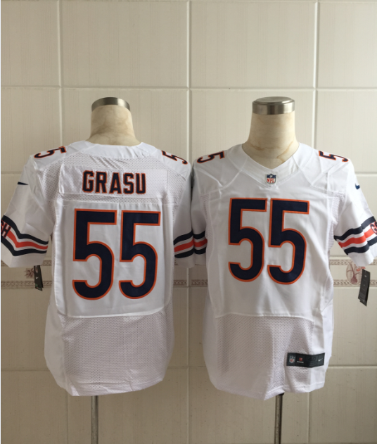 Chicago Bears 55 Grasu White Men Nike Elite Jerseys