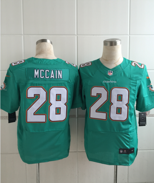 Miami Dolphins 28 Mccain Green Men Nike Elite Jerseys