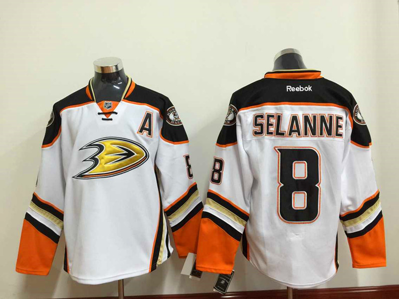 NHL Anaheim Ducks 8 selanne white 2015 Jersey