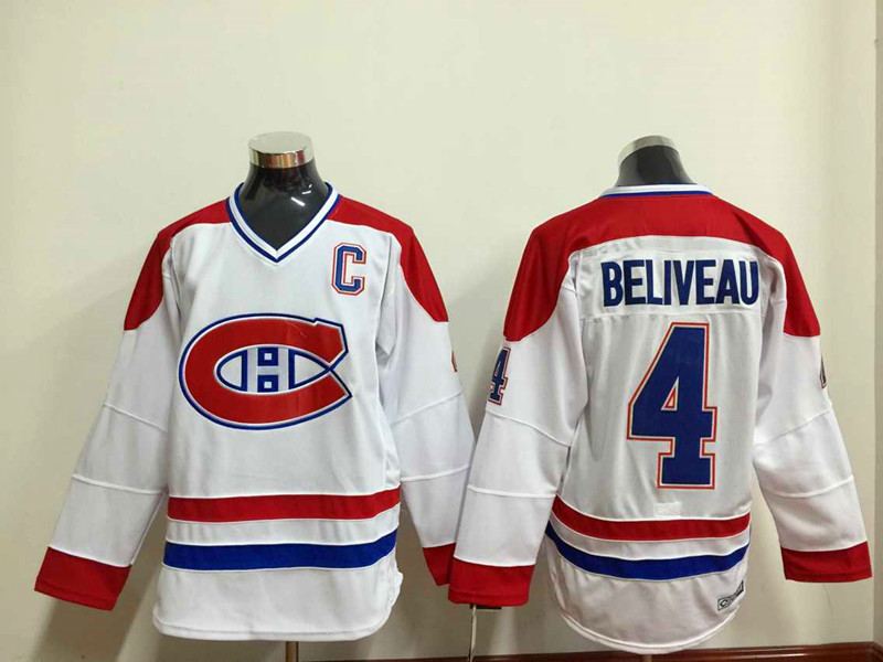 NHL Montréal Canadiens 4 beliveau white Throwback Jersey