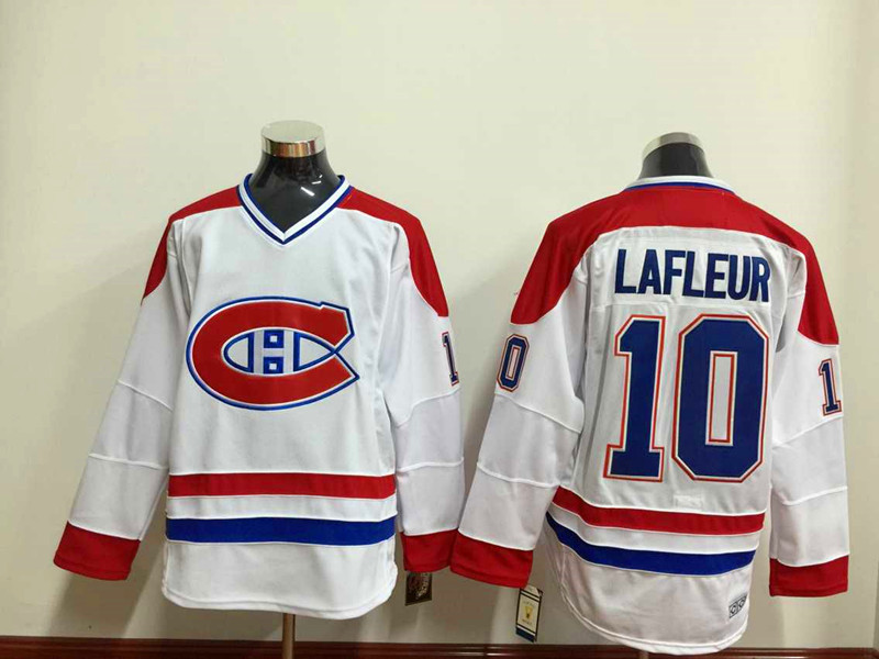 NHL Montréal Canadiens 10 lafleur white Throwback Jersey