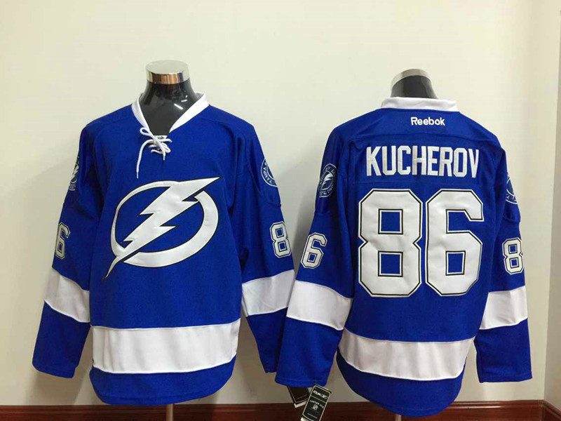 NHL Tampa Bay Lightning 86 kucherov blue white 2015 Jersey