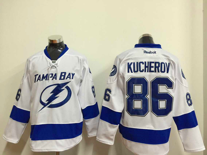 NHL Tampa Bay Lightning 86 kucherov white 2015 Jersey