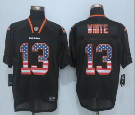 Chicago Bears 13 White USA Flag Fashion Black 2015 New Nike Elite Jerseys