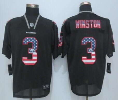 Tampa Bay Buccaneers 3 Winston USA Flag Fashion Black 2015 New Nike Elite Jerseys