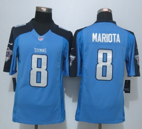 Tennessee Titans 8 Mariota Blue New Nike Limited Jersey