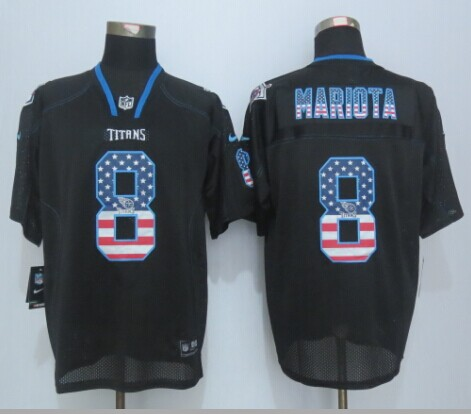 Tennessee Titans 8 Mariota USA Flag Fashion Black 2015 New Nike Elite Jerseys
