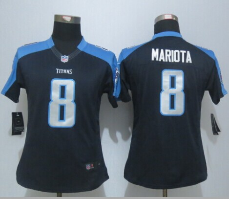 Womens Tennessee Titans 8 Mariota Black New Nike Limited Jerseys