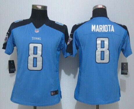 Womens Tennessee Titans 8 Mariota Blue New Nike Limited Jerseys