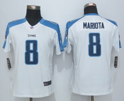 Womens Tennessee Titans 8 Mariota White New Nike Limited Jerseys