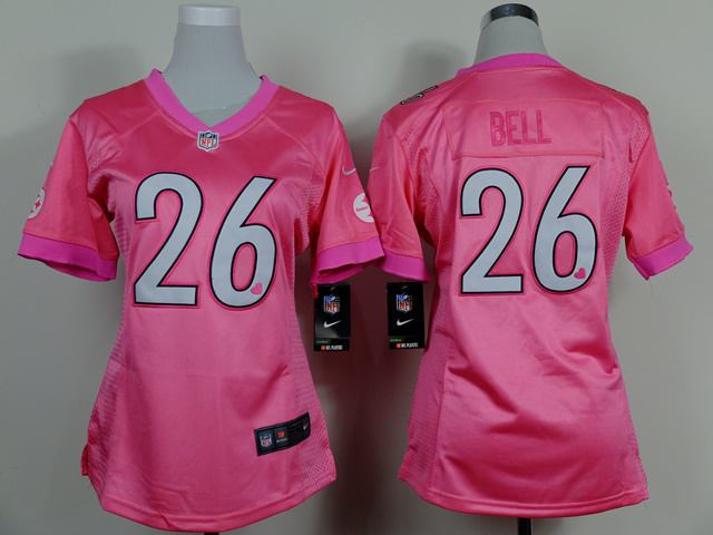 Womens Pittsburgh Steelers 26 Bell Pink 2015 Nike Elite Jersey