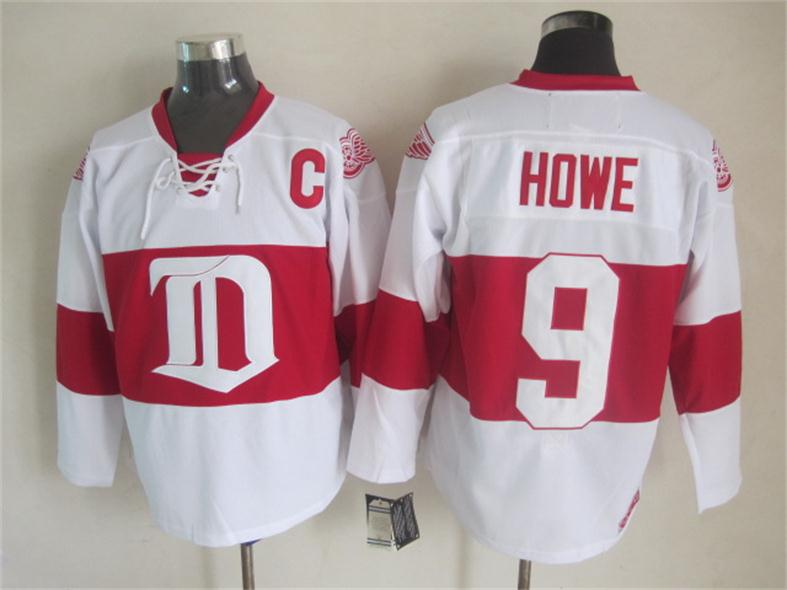 NHL 2015 Deroit Red Wings 9 Howe White Red Jersey