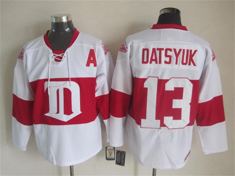 NHL 2015 Deroit Red Wings 13 Datsyuk White Red Jersey