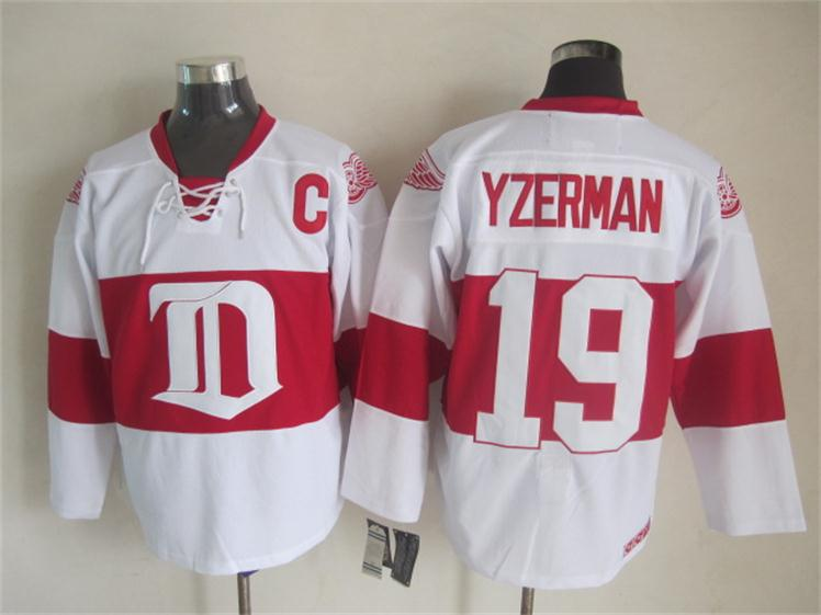 NHL 2015 Deroit Red Wings 19 Yzerman White Red Jersey