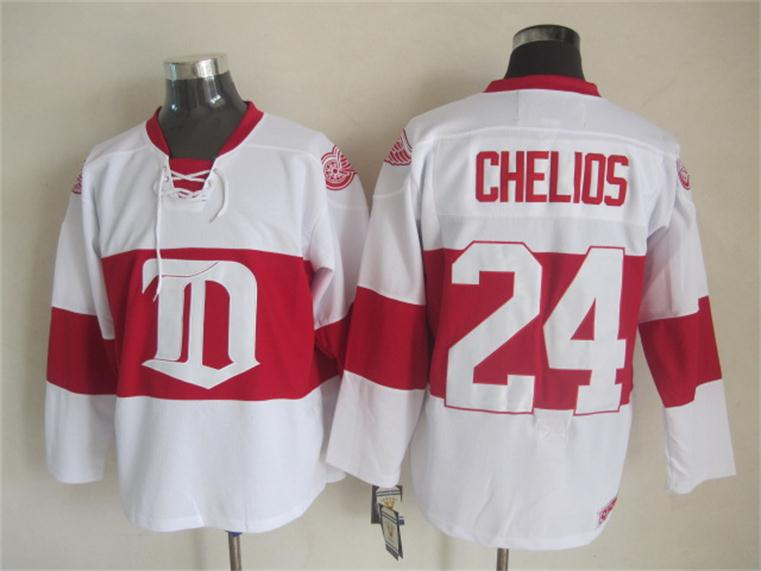 NHL 2015 Deroit Red Wings 24 Chelios White Red Jersey