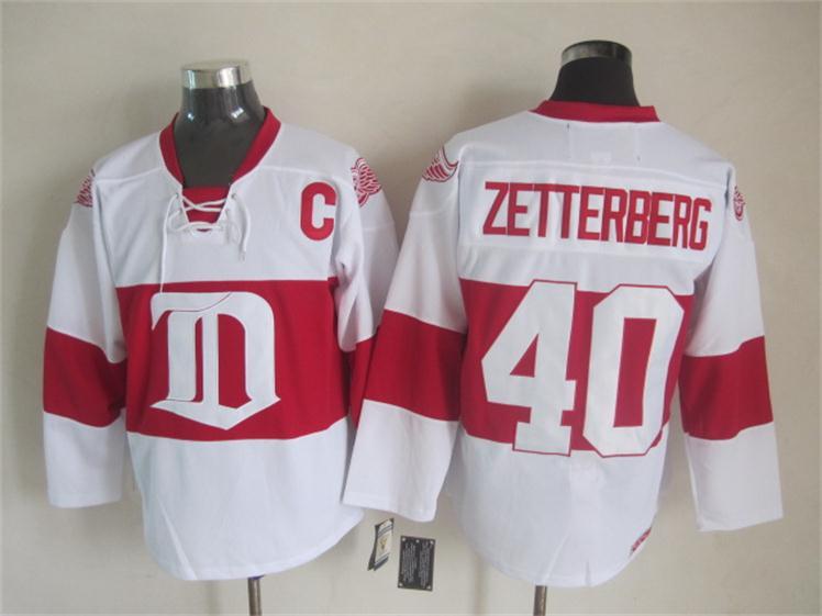 NHL 2015 Deroit Red Wings 40 Zetterberg White Red Jersey