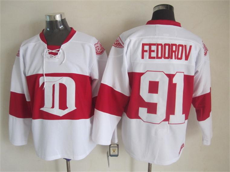 NHL 2015 Deroit Red Wings 91 Fedorov White Red Jersey