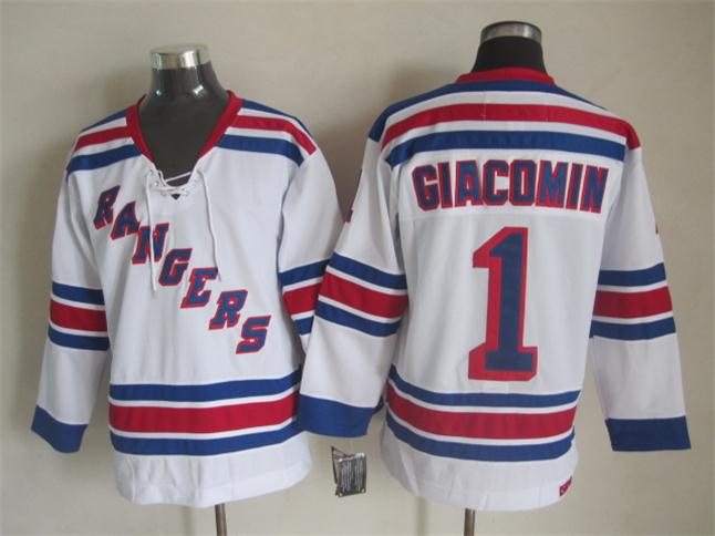 NHL 2015 New York Rangers 1 Giacomin White Jersey