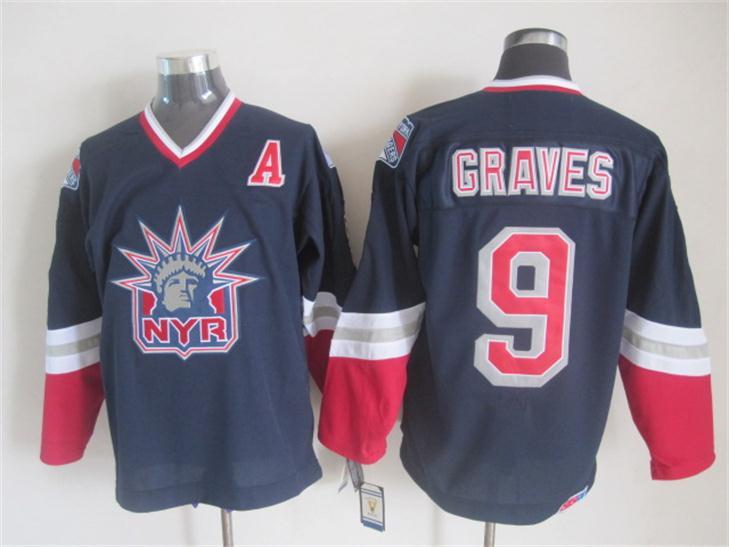 NHL 2015 New York Rangers 9 Graves Black Jersey