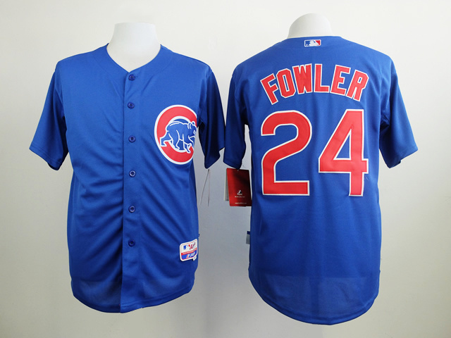 MLB Chicago Cubs 24 Fowler Blue Jersey