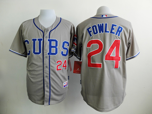 MLB Chicago Cubs 24 Fowler Gray Jersey
