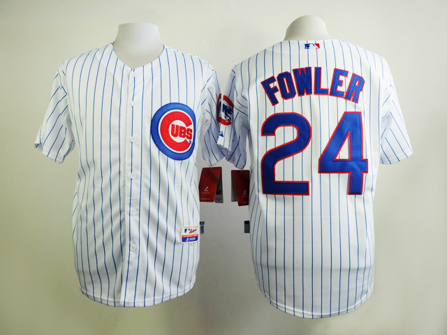 MLB Chicago Cubs 24 Fowler White Stripe Jersey