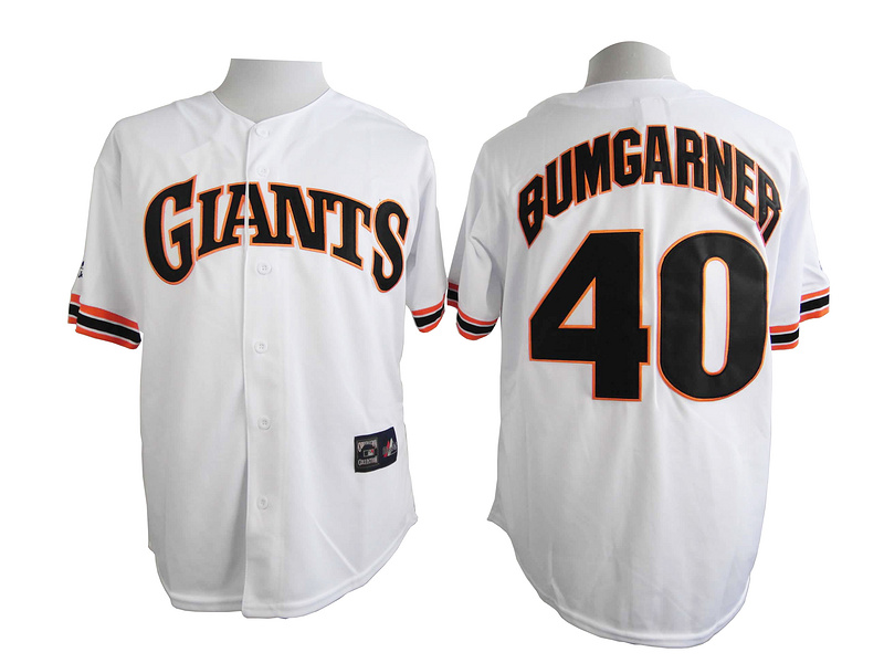 San Francisco Giants 40 Bumgarner White Turn The Clock 1989 Jersey