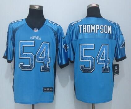 Carolina Panthers 54 Thompson Drift Fashion Blue 2015 New Nike Elite Jerseys