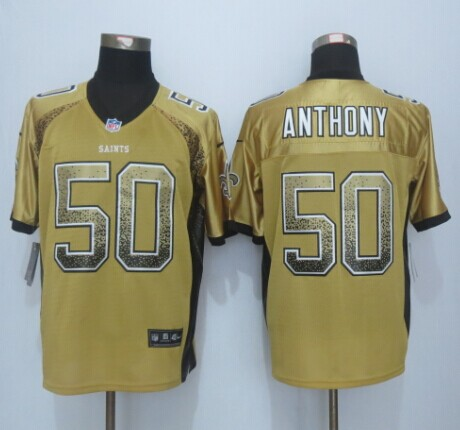 New Orleans Saints 50 Anthony Drift Fashion Gold 2015 New Nike Elite Jerseys